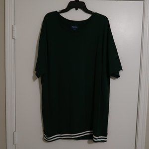 XL Green white varsity style short sleeve sweat